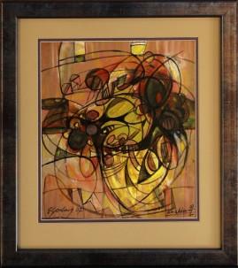 Oko demona (2007) akryl, karton, 18,5 x 24,5 cm (w świetle passe-partout), 42,5 x 37,5 (z oprawą)
