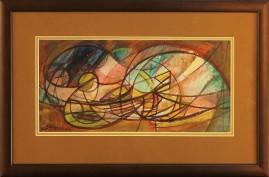 Akt w alkowie (2001) akryl, karton, 17 x 37 cm (w świetle passe-partout), 32,5 x 51 (z oprawą)