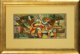 Martwa natura pozioma (2007) akryl, karton, 17 x 37 cm (w świetle passe-partout), 39 x 58 (z oprawą)