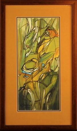 Akt w plenerze (2006) akryl, karton, 40 x 18 cm (w świetle passe-partout), 56,5 x 32,5 (z oprawą)