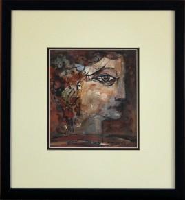 Antyczny profil (1987) akryl, karton, 20 x 18 cm (w świetle passe-partout), 41 x 38 cm (z oprawą),