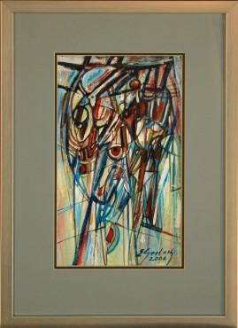 Kompozycja błękitna (2006) akryl, karton, 35 x 20 cm (w świetle passe-partout), 54 x 38,5 (z oprawą)
