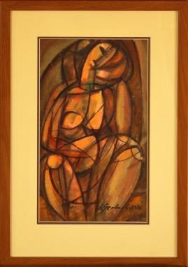 Zamyślona - Akt (2006) akryl, karton, 38 x 22 cm (w świetle passe-partout), 55,5 x 38 (z oprawą)