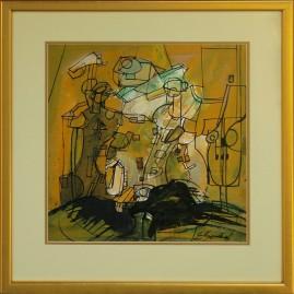 Duet X/76 (1976) akryl, olej, klarton, 36 x 35 cm (w świetle passe-partout), 54 x 52 cm (z oprawą)