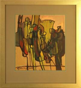 Pielgrzymi (1979) akryl, karton, 36 x 32 cm (w świetle passe-partout), 58 x 52 cm (z oprawą)