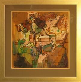 Skrzypek (1989) akryl, karton, 39 x 39 cm (w świetle passe-partout), 58 x 56 cm (z oprawą)