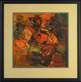 Kompozycja (2001) akryl, olej, karton, 39 x 39 cm (w świetle passe-partout), 58 x 57 cm (z oprawą)