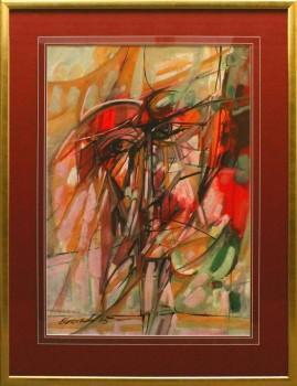 Portret poety (1995) akryl, gwasz, karton, 66 x 46 cm / 90 x 70 cm [z oprawą]