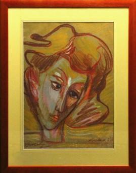 Portret kobiety (1988) pastel, karton, 66 x 46 cm / 90 x 70 cm [z oprawą]