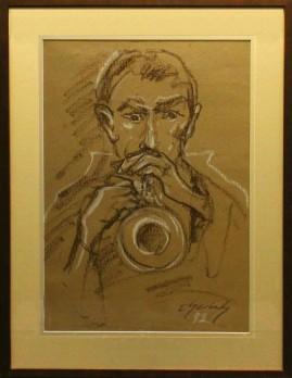 Trębacz (1992) pastel, karton, 66 x 46 cm / 90 x 70 cm [z oprawą]