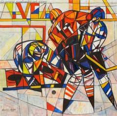 Hokeiści (2011), 150 x 150 cm