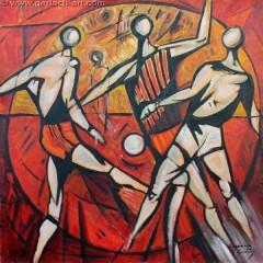 Piłkarze (1976), 125 x 125 cm