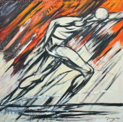 Sprinter na starcie (1976 , 125 x 125 cm