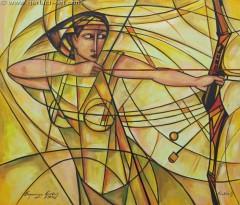 Złota łuczniczka (2010) olej, płótno, 101 x 117 cm