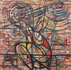 Sztangista (2010), 100 x 100 cm