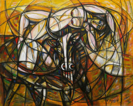 Porwanie Europy, 2019 olej, płótno, 84 x 106 cm