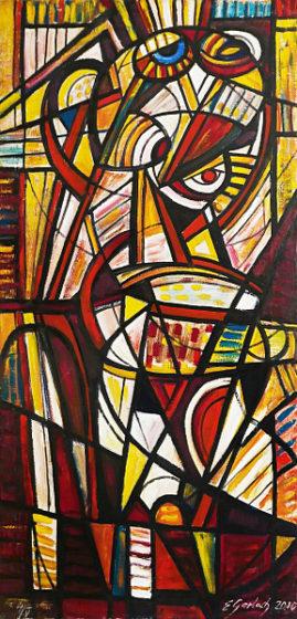 Spojrzenie - akt, 2010 olej, płótno, 125 x 60 cm