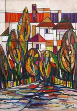 Ulica spokojna, 2014, olej na płótnie, 108,5 x 74,5 cm