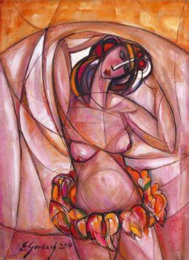 Naga tancerka, 2014, olej na płótnie, 75 x 55 cm