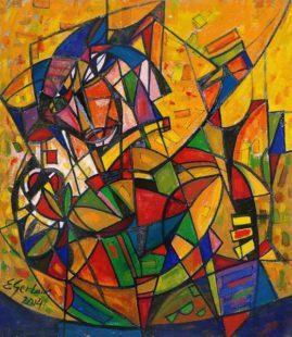 Demiurg, 2014, olej na płótnie, 78,5 x 68,5 cm
