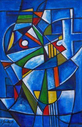 Kompozycja błękitna 2015, 2015, olej na płótnie, 70 x 110 cm