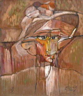 Deszczowy portret, 1986, olej na płycie, 70 x 60 cm