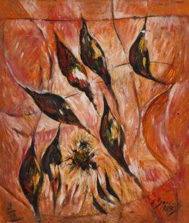 Delfiny 1989, 1989, olej, płyta, 60 x 70 cm
