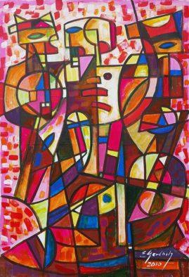 Przybysze 2010, 2010 olej, płótno, 100 x 70 cm