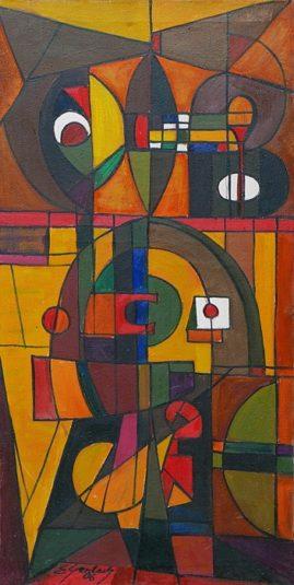 Kompozycja 06/II-2006, 2006 olej, płótno, 97 x 50 cm