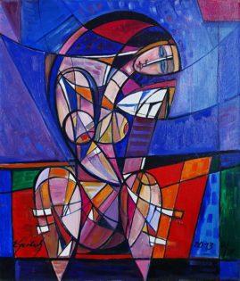 Akt z lusterkiem 2013, 2013 olej, płótno, 70 x 60 cm