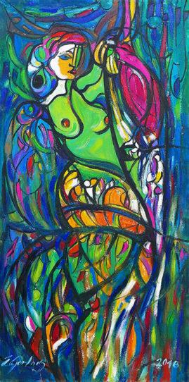 Tancerka z papugą, 2018 - olej na płótnie, 107 x 53 cm