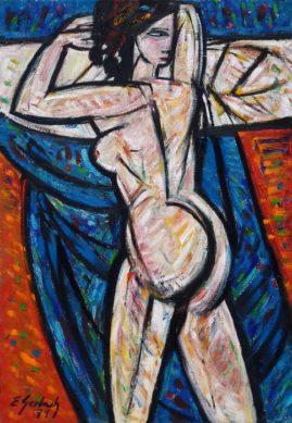Akt na tle błękitnej draperii, 1971, olej, płótno, 100 x 70 cm