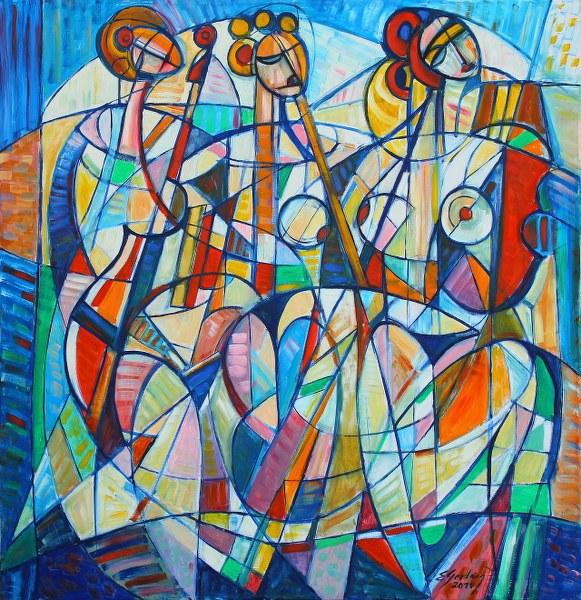 """""""Trzy gracje - trio"""" 125 x 125 cm, 2011"""