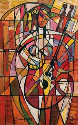 Akt z instrumentem (2013)  olej, płótno, 93 x 60 cm