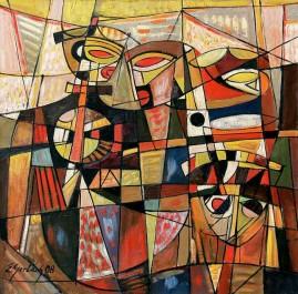 Przybysze - 08 (2008) olej, płótno, 76,5 x 76,5 cm