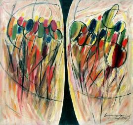 Dwie strefy II (1996),  olej, płótno, 99 x 108 cm
