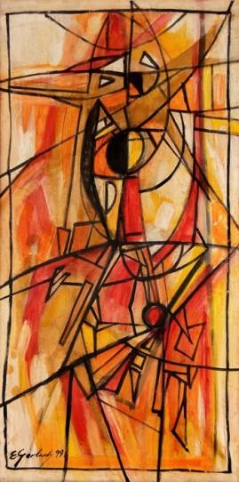 Kompozycja 99 (1999) olej, płótno, 92 x 47 cm