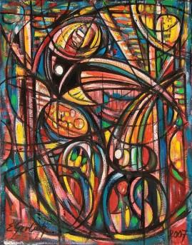 Tukany (2007), olej, płótno, 76 x 60 cm