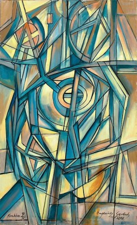 Kompozycja urbanistyczna 06/I olej, płótno, 130,5 x 79,5 cm