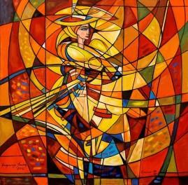 Wichrowa dama II (2012) olej, płótno, 125 x 125 cm