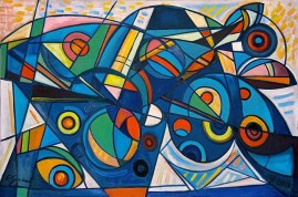 Kompozycja błękitna (2013) olej, płótno, 85 x 135 cm