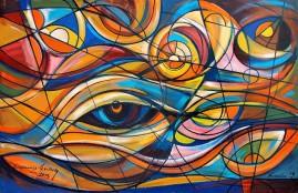 Kompozycja - spojrzenie (2013) olej, płótno, 134 x 89 cm