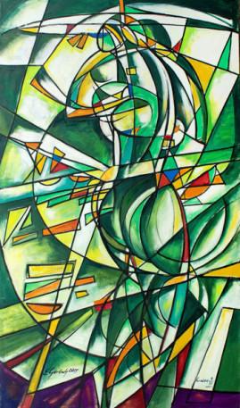 Akt futurystyczny, 2009 olej płótno 200 x 115 cm