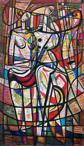 Duet 81, 1981 olej, płótno 215 x 115 cm