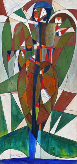 Upadły Anioł, 2003 olej, płótno 210 x100 cm