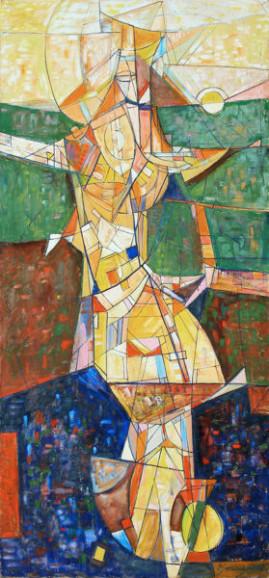 Wędrowiec, 2002 olej, płótno 210 x 100 cm