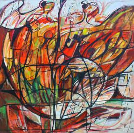 Zbuntowane Anioły 94, 1994 olej , płótno 150 x 150 cm