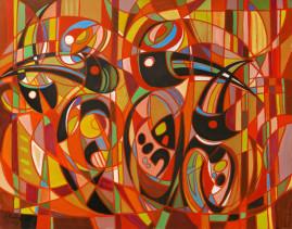 Egzotyczne ptaki - 012, 2012 olej, płótno 116,5 x 160 cm