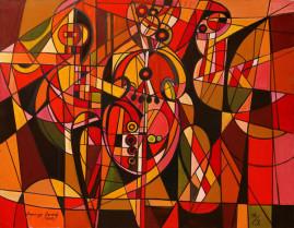 Wiolonczelistka - 012, 2012 olej, płótno 116,5 x 150 cm