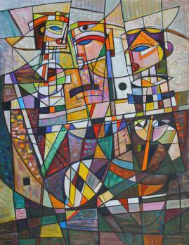 Trzej mędrcy, 2001 olej, płótno 150 x 115 cm